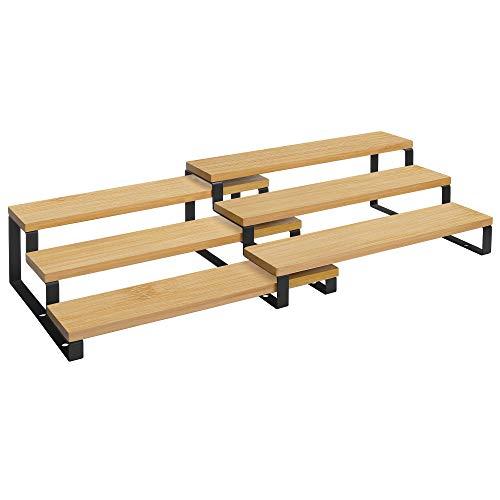 SONGMICS Gewürzregale, Küchenregale, 2er Set, mit je 3 Ablagen, Bambus, ausziehbar, stapelbar, für Speisekammer, Küche, Arbeitsplatte, naturfarben-schwarz KCS016N01