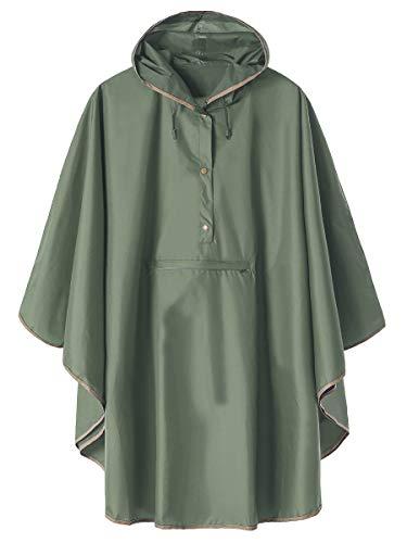 Kapuzenjacke / Regenmantel / Poncho mit Vordertasche, Armeegrün
