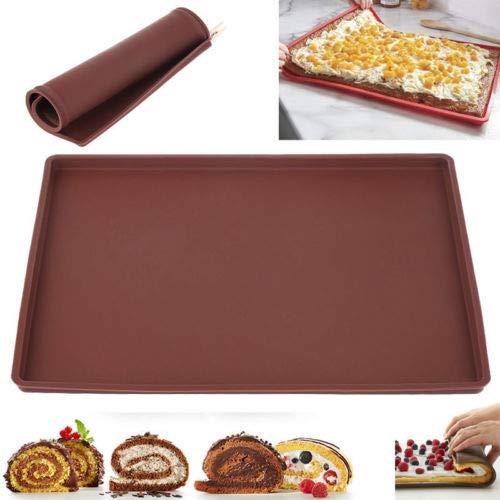 Tapete para Hornear de Silicona Estera de Horno Antiadherente Swiss Roll Mat Multifuncional Torta de Hornada de Pizza Pasteles Pad Bandeja de Herramientas para Cocina (Marrón, S)