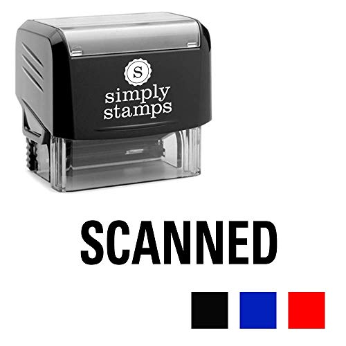 Scanned Self-Inking Stamp with Pre-Installed Ink Pad - Ergonomic and Compact Stamp Body - 3 Colors