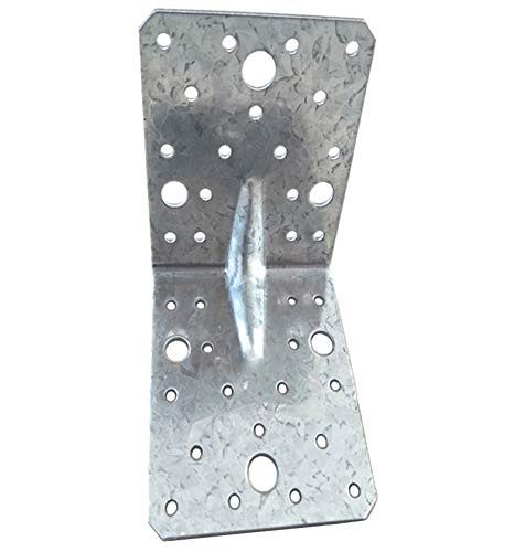 Soportes de esquina placas, conectores angulares, ángulo de madera resistente, L chapa de acero galvanizada, paquete de 4 (105 x 105 x 90 x 2,5 mm)