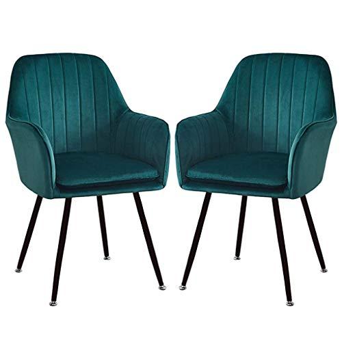 Living Equipment 2 Stück Set Retro Esszimmerstühle Sessel Soft Velvet Sitz mit Rückenkissen Metallbeine Küchenstühle für Esszimmer und Wohnzimmer Schreibtischstuhl (Farbe: Gelb Größe: Goldene Beine