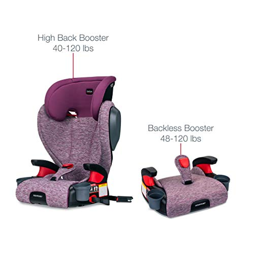 Britax Highpoint 2-Stage Belt-Positioning Booster Car Seat - Highback and Backless | 3 Layer Impact Protection - 40 to 120 Pounds, Mulberry