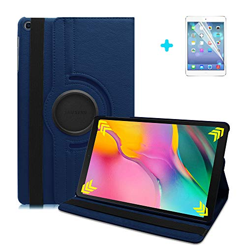 ARECY 360 Degree Rotation PU Leather Smart Cover with Stand Function dark blue dark blue Galaxy Tab S5 10.5(2019) ET720/T725
