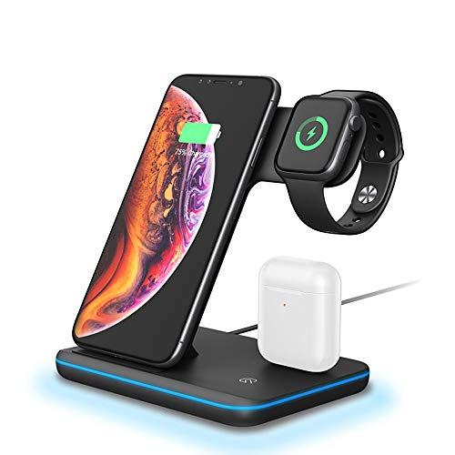 Nething Estación de carga inalámbrica 3 en 1 de 15 W para carga inalámbrica compatible con Apple Watch, iPhone, Samsung, Xiaomi, Huawei, Samsung Watch, AirPods, auriculares inalámbricos (blanco)