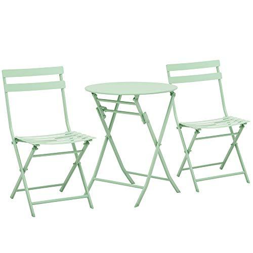 Outsunny 3-TLG. Gartenset Garnitur Bistrotisch mit 2 Stühlen für Hof Garten klappbar Grün