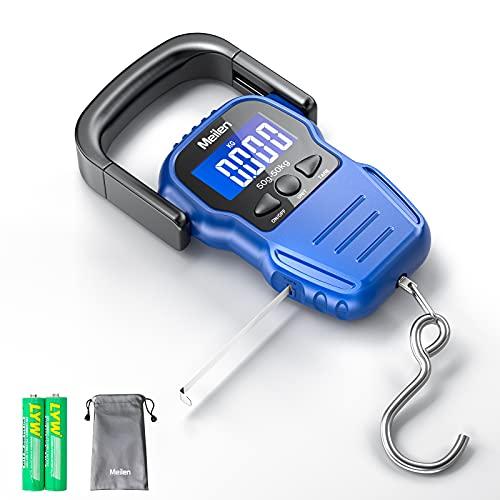 Báscula de Equipaje, Báscula de Pescado de 110 lb / 50 kg con Pantalla LCD Retroiluminada, Báscula Digital para Maleta con Mango Cómodo y Cinta Métrica y 2 Pilas AAA (azul)