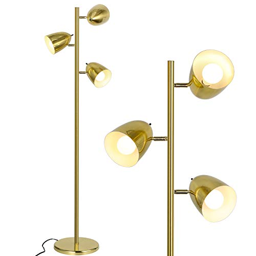 Industrial LED Reading and Floor Lamp for Living Rooms, Bedrooms, Mid Century Modern Adjustable 3 Light Tree, Standing Tall Pole Lamp, Antique Brass/Gold, Bulb Sold Separately