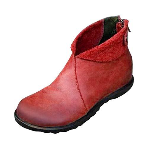 Lenfesh Warme Stiefel Damen Boots Für Frauen Flache Für Damen Kunstleder Vintage Stiefeletten Herbst Winter Damen Flache Schuhe Bequeme Mode Bootsschuhe Damenschuhe Anti Rutsch Draussen