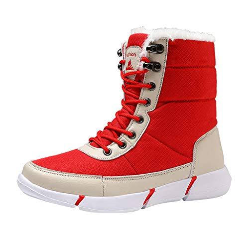 HDUFGJ Unisex Schneeschuhe Plus Samt Warm halten rutschfeste Outdoor-Schuhe für Sport Hiking Trekking-& Wanderhalbschuhe Verschleißfest Freizeitschuhe Wasserdicht Laufschuhe Bequem 35.5 EU(rot)
