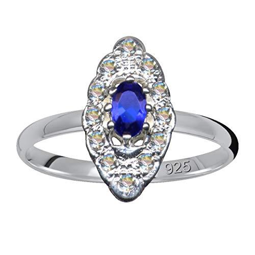 Silberring Ring Navette Marquis Jugendstil Blau Weiß Echt Sterling Silber 925 Zirkonia Kristalle Liebe extravagant neu gut schön modisch weiss klar transparent 59019