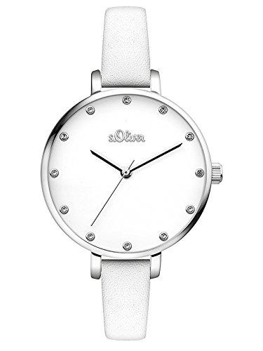 s.Oliver Damen Analog Quarz Armbanduhr mit Leder Armband SO-3455-LQ