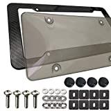 Aootf License Plate Cover Frame- Bubble Smoked License Plate Cover & Plastic Carbon Fiber Car Tag Holder, Tinted Heavy Duty Unbreakable Novelty Protector, Mount Screws, Black Caps, Rattle Proof Pad