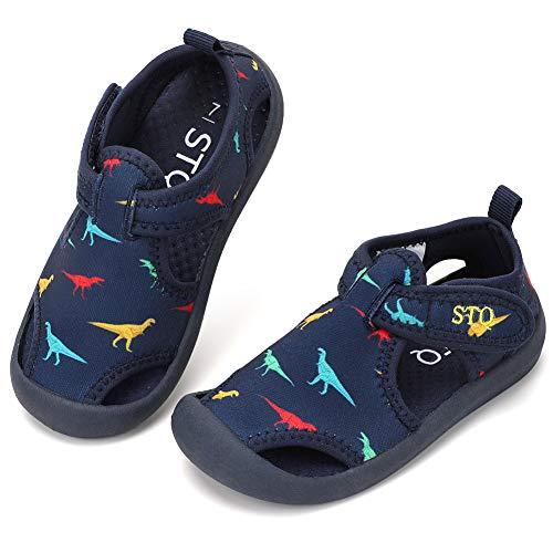 STQ Kinder Sandalen für Jungen Mädchen Hauschuhe Komfortabel Badeschuhe Atmungsaktiv Bequeme Quick Dry Wasserschuhe Navy/Dinosaurier 22 EU