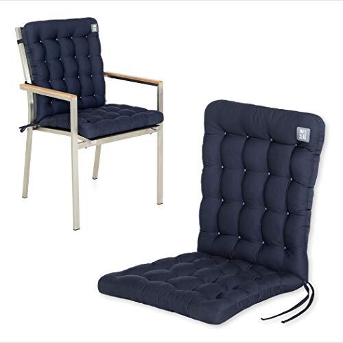 HAVE A SEAT Luxury | Gartenstuhlauflagen - Niedriglehner Polster Auflage, waschbar bei 95°C, Trockner geeignet, Sitzauflage für Gartenstuhl (1 Stück - 100x48 cm, Marine-Blau)