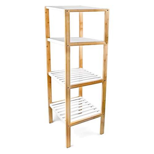 Relaxdays Bambus Regal mit 4 Fächern HBT: 110 x 33 x 34 cm Schickes Badregal mit 4 Ablagen aus natürlichem Holz Standregal als Küchenregal oder Holzregal zur Aufbewahrung im Badezimmer, weiß, natur