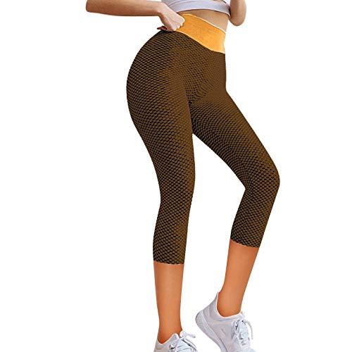 YANFANG Leggings de Yoga elásticos para Mujer, Fitness Correr Gimnasio Bolsillos Deportivos Pantalones Activos,Ropa de Chandal,, S,Orange