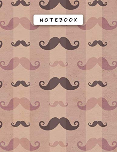Notebook Rosy Brown Color Mustaches Lines Patterns Cover Lined Journal: 21.59 x 27.94 cm, Money, Personal Budget, 8.5 x 11 inch,