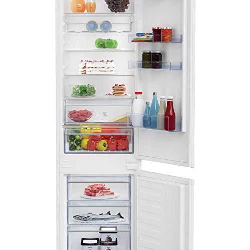 Réfrigérateur combiné, installation encastrée, 220 litres, classe A++, statique avec ventilateur.