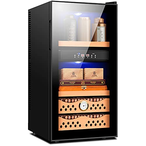 CIGARLOONG Electronic Cigar Humidor 300 Count Cigar and Multiple Bottles of Tea with Precision Digital Temperature and Humidity Controls 2.3 Cubic Feet Cabinet
