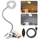 Skymore 24 LED Book Light, 7W Clip Reading Light, Makeup Desk Lamp, USB Rechargeable Bed Light, 2 Brightness(Warm/White) with Eye Protection, Perfect for Night Reading, Bed Headboard and Computers