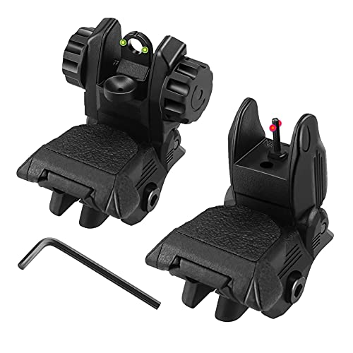 MAGORUI Flip Up Sights, Flip-up Front and Rear Fiber Optics Iron Sight with Red and Green Dots Compatible with Picatinny and Weaver Rail