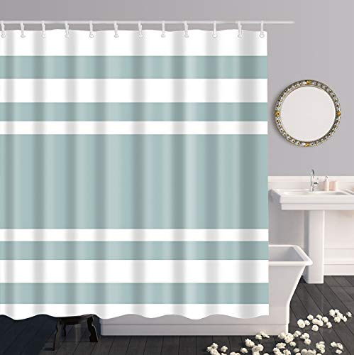 Andrew & Sarah Long Striped Fabric Shower Curtain, Classic Shower Curtains for Bathroom, 72x78,Aqua