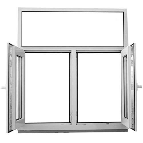 JeCo Kunststofffenster Fenster mit Pfosten und Oberlicht - 2-flügelig 2-Fach Verglasung - 1200x1200mm - Oberlicht fest im Rahmen