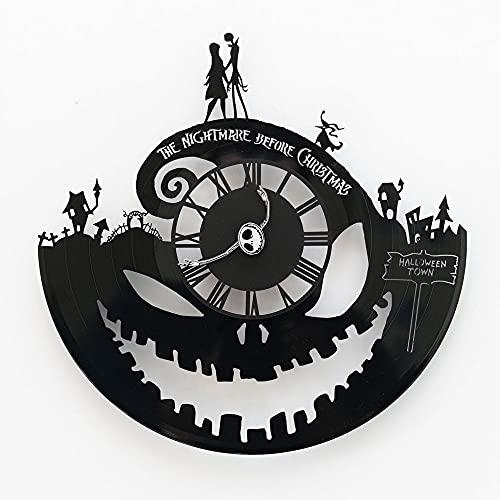Jack Skellington Clock, Christmas Decor, Nightmare Gift Idea Before Halloween, Vinyl Record Wall Clock