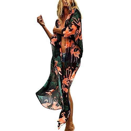 Gebell Kimono Donna – Floreale chiffon kimono Cardigan lungo bikini da spiaggia copertura Up 3/4 manica boho estiva camicia leggera giacca da spiaggia nero e rosa. S