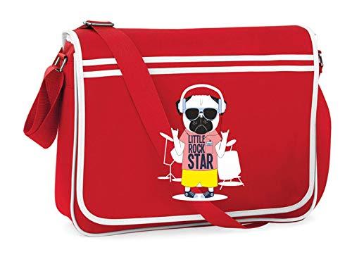 Druckerlebnis24 Schultertasche - Little Rockstar Mops Music - Umhängetasche, geeignet für Schule Uni Laptop Arbeit
