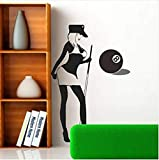 Zykang Stickers Muraux Personnalisé Sexy Billard Billard Salle Snooker Noir Huit Salle De Billard Décoration Stickers 35X100Cm