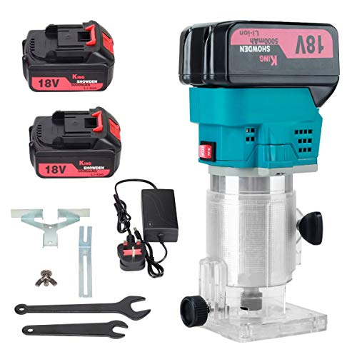 Crodless Wood Palm Router with 2pcs 5Ah Battery, King Showden 18V 1/4
