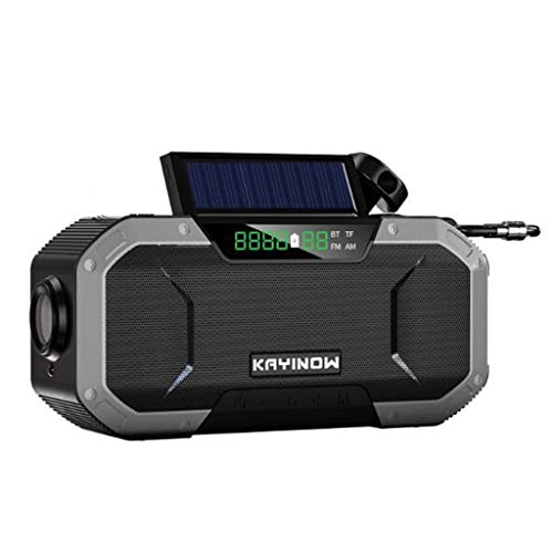 Multifunctional IPX6 waterproof portable Bluetooth speaker, Wireless solar generator radio with LED flashlight, AM FM-5000mAh hand crank mobile phone charger, SOS alarm, compass (Color : 4)