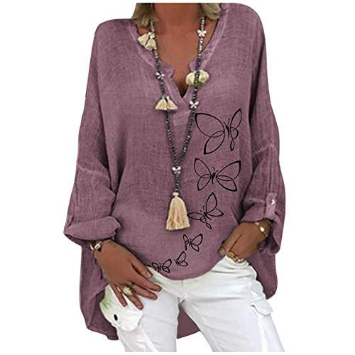SKWYPOJU Damska lniana bluzka oversize Elegancka bluzka z nadrukiem w motyle Lniana bluzka z dekoltem w serek Topy Tunika Luźne długie bluzki (Color : Purple, Size : X-Large)