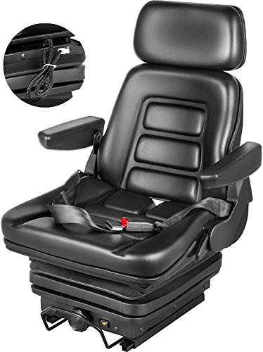 VEVOR Suspension Seat With Safety Switch Adjustable Forklift Seat Replacement Back Fork Lift Seats for Tractor & Forklift Suspension Tractor Seats and Backhoe Seat with Seat Belt