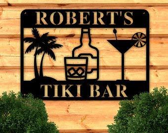 Ced454sy Personalisiertes Tiki-Bar-Schild, personalisierbares Metallschild, Strand-Bar-Schild, Pool-Dekoration, individuelle Metallschilder, Pool-Bar, Outdoor-Metallschild