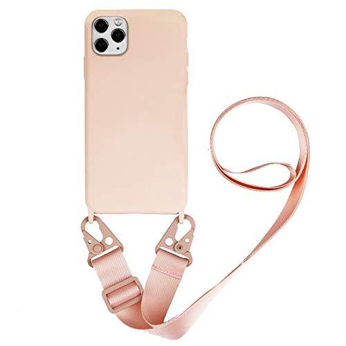 Handykette Handyhülle kompatibel mit Apple iPhone 11 Necklace Hülle Nylon Schultergurt Weich Silikon TPU Cover mit Kordel zum Umhängen Schutzhülle mit Stylische Band (Pulver aus Sand)