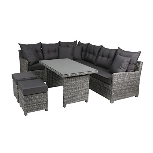 greemotion Salon de jardin en résine tressée Miami – Salon de jardin 6 places gris anthracite – Salon extérieur avec table de jardin, 2 canapés et 2 poufs – Salon de jardin aluminium