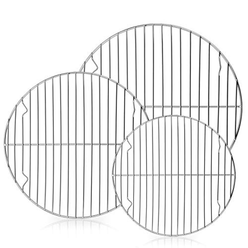 """E-far Round Cooling Cooking Racks - Size 7½"""" & 9"""" & 10½"""" - Stainless Steel Round Steaming Baking Rack Set of 3, Multi-Purpose for Canning Air Fryer Pressure Cooker, Dishwasher Safe"""