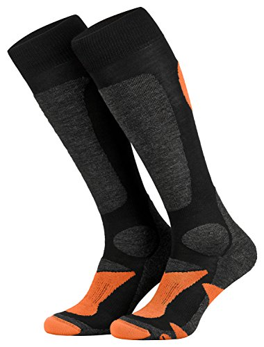 Piarini 2 Paar Unisex Skisocken Skistrumpf Herren, Damen und Kinder für Wintersport, Snowboard atmungsaktive Knie-Strümpfe Farbe Schwarz-Orange Gr.43-46