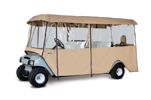 Classic Accessories Fairway Deluxe 4-Sided 6-Person Golf Cart Enclosure, Tan