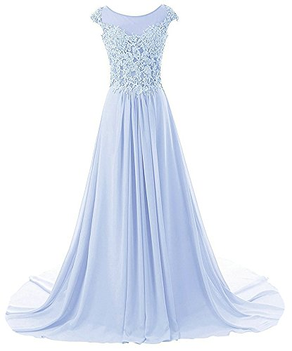 Prom Dresses Long Formal Evening Gowns Lace Bridesmaid Dress Chiffon Prom Dress Cap Sleeve Lavender US28