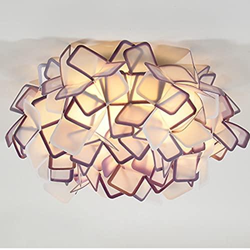 LSWGG Lámpara De Techo De Flores Acrílicas para Dormitorio LED Iluminación Cálida Y Romántica Redonda Sala De Estar Minimalista Moderna, Lámparas Creativas,Púrpura