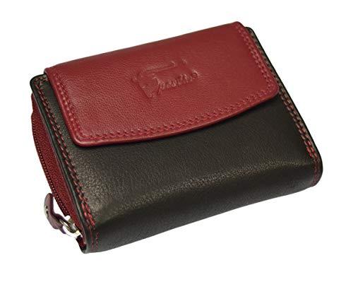 RFID Echt Leder Damenbörse Geldbörse Börse Portemonnaie Wallet RFID Blocker (Rot-Schwarz)