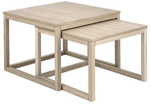 24Designs Woodie Salontafel Set - 70x70x50 - Eiken White Wash