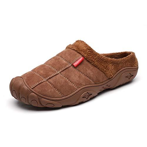 AYDQC Zapatillas para Hombres Invierno Invierno Zapatos de cálido Interior de Fondo Grueso Peluche de Cuero Impermeable Zapatillas Zapatos de algodón 2020, Size : Code 42