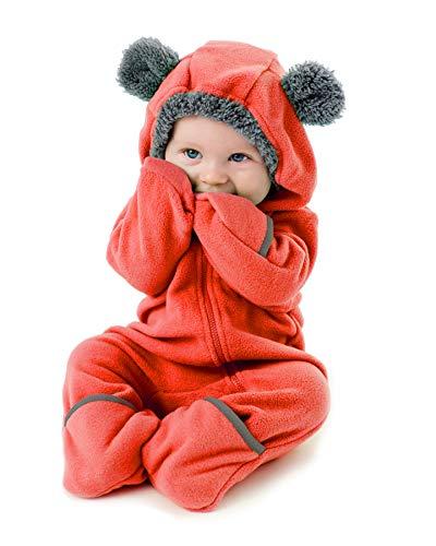 Cuddle Club Mono Polar Bebé para Recién Nacidos a Niños 4 Años - Pijamas Infantiles Chaqueta de Invierno Abrigo Polar Niño Mono de Niños - BearRed6-12m