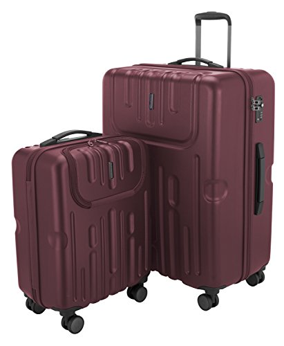 HAUPTSTADTKOFFER - Havel - 2er Koffer-Set (Handgepäck mit Laptop-Fach und Großer Reisekoffer) Trolley-Set Rollkoffer Hartschalenkoffer, TSA, (S & L), Burgund
