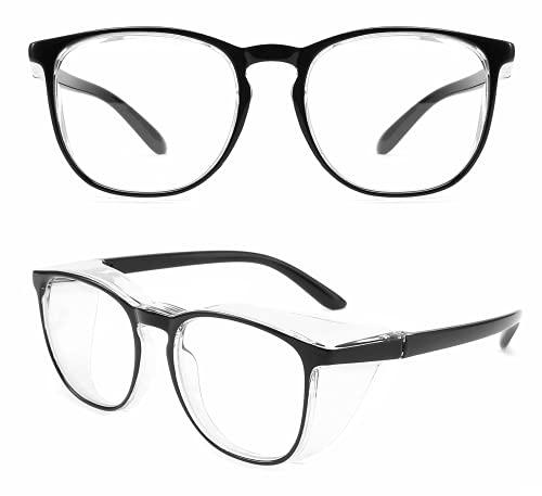 MAKABAKA花粉防止メガネ ゴーグル 飛沫感染予防 ウィルス対策花粉症対策 防塵メガネ 曇りにくい ブルーライトカット 紫外線カット 超軽量 おしゃれ レディース メンズ 眼鏡 (黒)